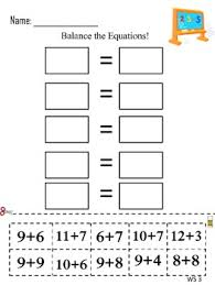 balance the equations review worksheets 2nd grade math