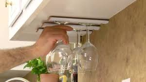 build your own diy wine glass rack for kitchen cabinets youtube