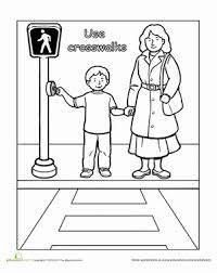 traffic safety use crosswalks worksheets safety and preschool