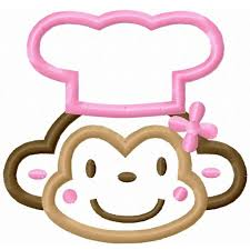 Girly Monkey Chef Applique Machine Embroidery Design Digital