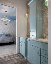 dura supreme master bath with light blue cabinets shabby chic