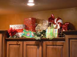 interesting decorating above kitchen cabinets for christmas