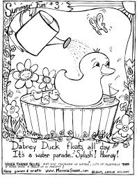 dabney duck summer fun coloring page