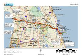 Map East Coast Florida by Cycling Routes Crossing Florida