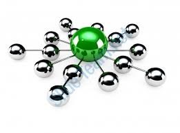 green in centre network with silver balls stock photo