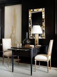 Black Office Desk Furniture Black And Gold Office With Shared Black Desk Transitional