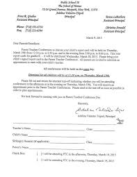 tear off appointment letter for parent teacher conference p s