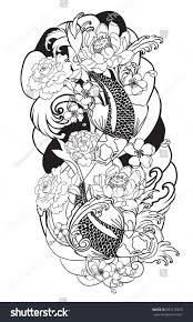 hand drawn outline koi fish tattoo stock vector 587217020