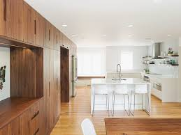black walnut cabinets kitchen transitional with shiplap ceiling