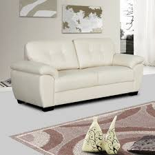 Ivory Cream Leather Sofa Collection With Tufted Seats And Cushions - Cream leather sofas