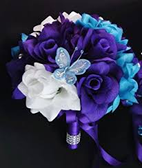 purple and blue wedding 17pc wedding bridal party bouquets boutonniere