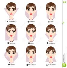 triangle and rectangular face hairstyle female set of different woman s face shapes nine female faces form stock