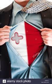 Matla Flag Business Man Showing Malta Flag Shirt Stock Photo Royalty Free