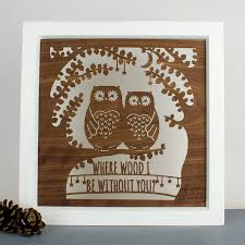 personalised wall woodcut fifth anniversary owl by create gift
