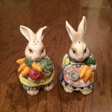 best reduced 12 00 fitz floyd 1993 bunny rabbit salt pepper