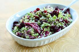 brussels sprout salad with cranberries and pistachios