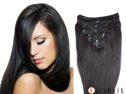 human hair clip in extensions clip in hair extensions 1b black