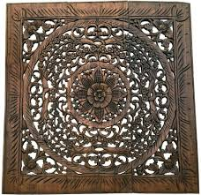 carved wood wall art lotus wall art hanging carved panel wood