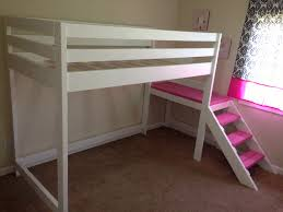 White Wooden Bunk Bed Furniture White Wooden Bunk Bed With Pink Stairs Connected By
