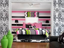 bedroom loveseat and wallpaper with bedding and black and white
