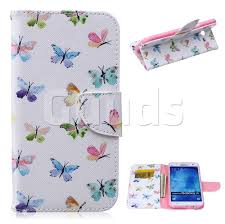 colored butterflies leather wallet case for samsung galaxy j7