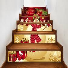 christmas happy snowman print 6 pieces home stairs stickers red