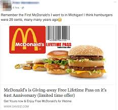 mcdonalds gift card discount false lifetime passes for free fast food