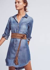 anthropologie fringed chambray buttondown tunic dresses shop