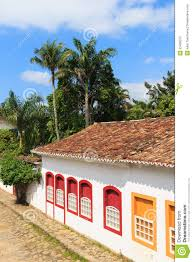 old portuguese colonial houses in downtown of paraty brazil stock