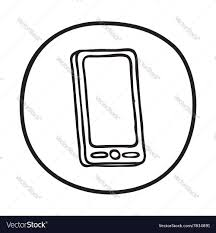 doodle mobile phone icon royalty free vector image