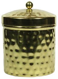 container with hammered effect in golden color finish u2013 removable