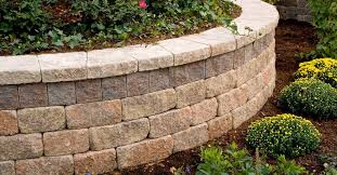 Unilock Retaining Wall Garden Fence With Bars Engineered Stone Estate Wall Unilock
