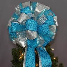 turquoise silver christmas tree topper bow 13