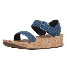 fitflop size 6 bon blue denim cork back strap wedge sandals womens