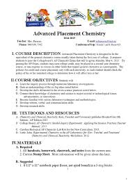 syllabus ap chemistry 2014 15 docx chemical reactions molecules