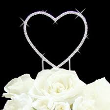 heart cake topper diamante heart cake topper wedding cake topper