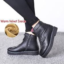 Comfortable Casual Boots Tastabo 2017 Women Winter Ankle Boots Handmade Velvet Flat With