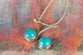 turquoise blue stone necklace images Turquoise necklace sterling silver necklace blue stone jewelry jpg