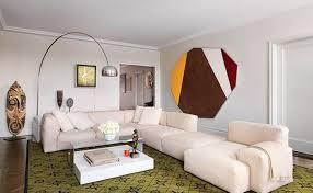 Stylish Sofa Sets For Living Room Stylish White L Shaped Sofa Set And Green Printed Carpet For