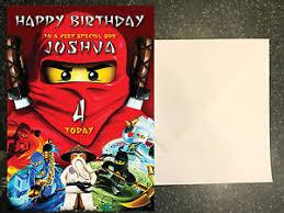 lego ninjago birthday card personalised a5 large any name age ebay