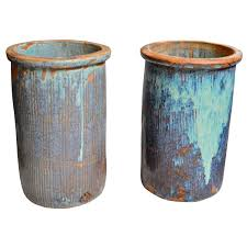 glazed ceramic pots pair of large drip glazed ceramic pots main