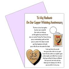 anniversary card for message buy husband 22nd wedding anniversary card with removable keyring