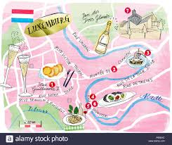 Map Of Luxembourg Illustration Of Luxembourg Map With Bars And Restaurants Stock