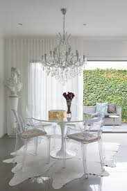 dining room white round ikea tulip table with grey padded chair