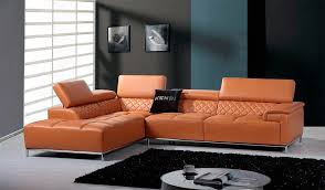 adjustable sectional sofa modern orange leather sectional sofa with bluetooth system vg482
