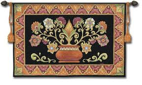 Wall Rugs Hanging Mexican Potted Floral Folk Art Tapestry Wall Hanging 53