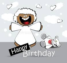 happy birthday card angel bear stock illustration image 41963518