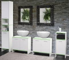 Badezimmer Kommode Holz Set Arezzo 2x Waschbeckenunterschrank Hochschrank Kommode Weiß