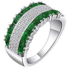 green wedding rings wide rings 925 silver wedding rings for green zirconia