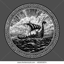 viking ship scandinavian ornament stock illustration